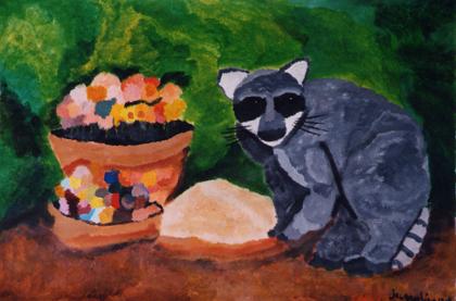 Wasbeertje met een pot met bloemen